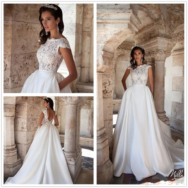 e475d998fe308 2018 Illusion Cap Sleeves Lace A Line Wedding Dresses Satin Illusion Tulle  Applique Backless Court Train