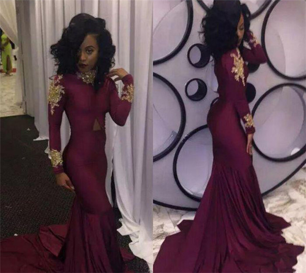Wine Red Mermaid Prom Dress Sexy South African Gold Appliques Burgundy Long Formal Evening Party Gown Custom Made Plus Size Gown