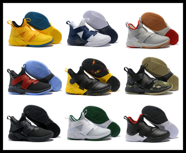 avec boîte Usine qui vend directement au magasin 2018 Hommes athlétiques soldats pas chers 12 Chaussures de basketball numéro 23 enlistes Elite Sport Sneakers EU46