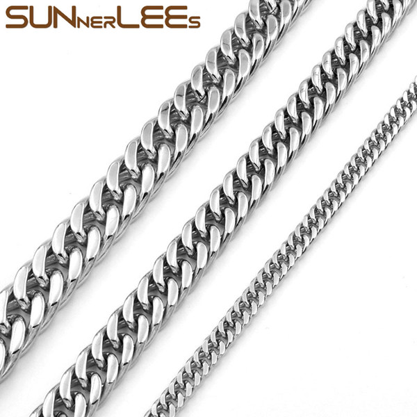 Fashion Jewelry 5mm 7mm 9mm 11mm Silver Color Stainless Steel Necklace Double Curb Cuban Link Chain For Mens Womens SC19 N