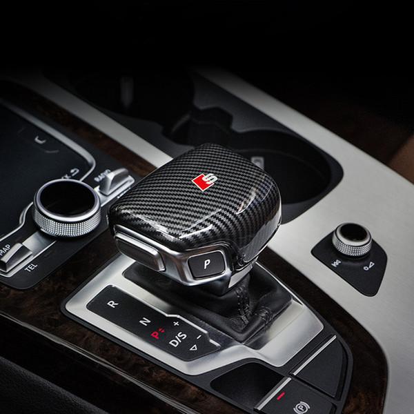 Carbon Fiber Car Console Gear shift knob head Frame cover trim sticker for Audi A4 A5 A6 A7 Q5 Q7 S6 S7 Car styling Auto Accessories