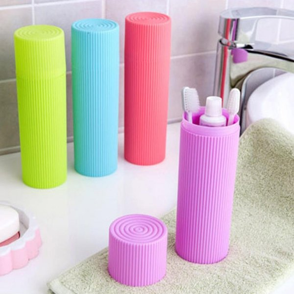 best selling 2018 Bath Practical Toothbrush Holder Anti Bacteria Storage Box Cylinder Portable Travel Chopsticks Container 65pcs