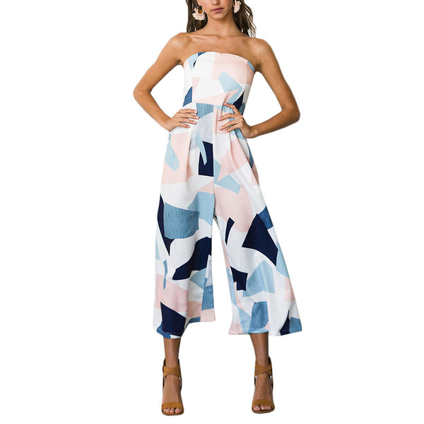 c07d3bf06b 2018 Fashion New Word European style Collar Back High WaistSlim Sleeves  Wrapped Chest Printed Playsuits Woman Jumpsuits