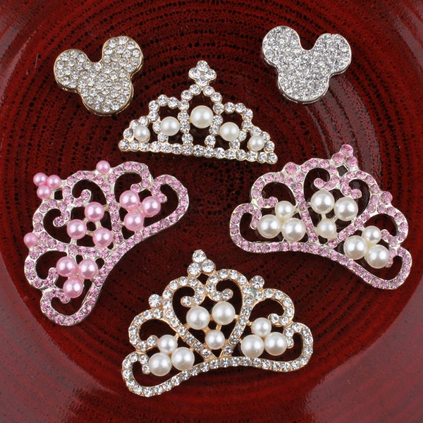 30pcs Vintage Crown Mouse Metal Rhinestone Bling Alloy Flatback Flower Crystal Buttons For Hair Accessories Headbands Headwear