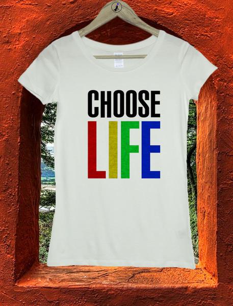 Choose Life 80's Party Retro Fancy Dress Hipster Ladies Women T-Shirt Top W36 Cool Casual pride t shirt men Unisex