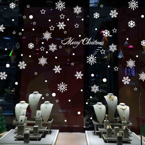 Snowflake Wall Stickers Shop Window Stickers Glass Tea Shop Sticker Home Decor Decal Mural new Year Merry Christmas Decoration