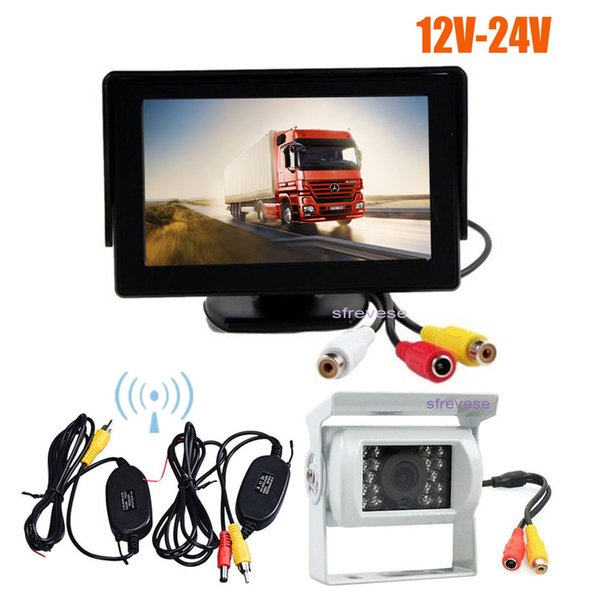 "4.3/"" Car LCD Foldable Monitor 18 LED Reverse Rear View Backup Camera Kit 12-24V"