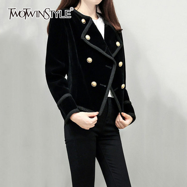 TWOTWINSTYLE OL Style Short Woolen Blazer For Women Winter Thick Plus Size Top Double Breasted Black Female Coat Fashion Clothes