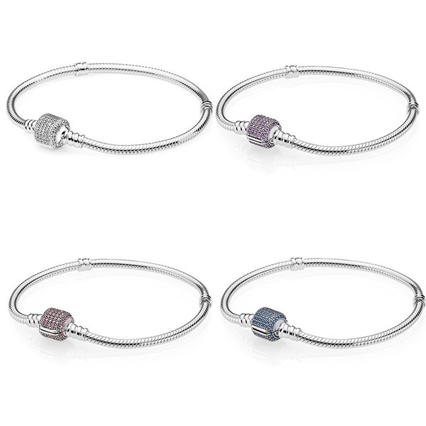 Multicolor Signature Crystal Barrel Clasp Bracelet Bangle Fit Snake Bracelet 925 Sterling Silver Bead Charm Jewelry