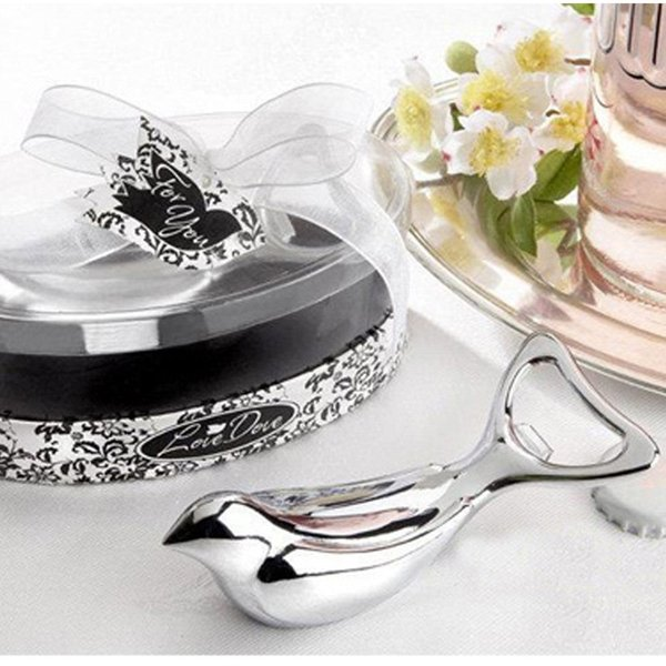 The Love Dove Bird Silver Chrome Wine Bottle Beer Opener Can Opener Bridal Wedding Shower Favors Gift With Retail Package