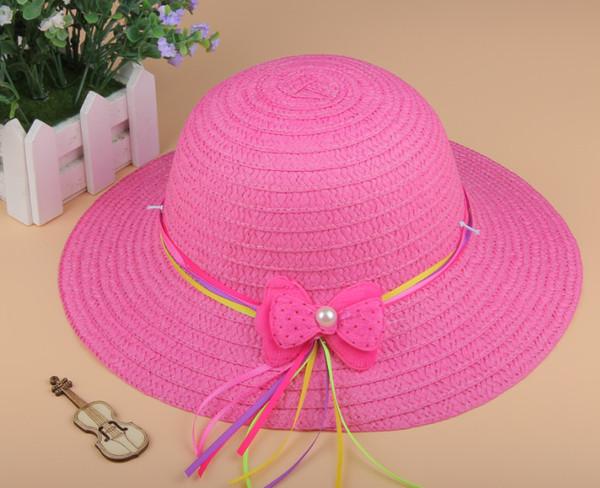 Summer Baby girl kids straw sun hats sunhats wide brim beach hat Crochet hats Children caps 5pcs/lot