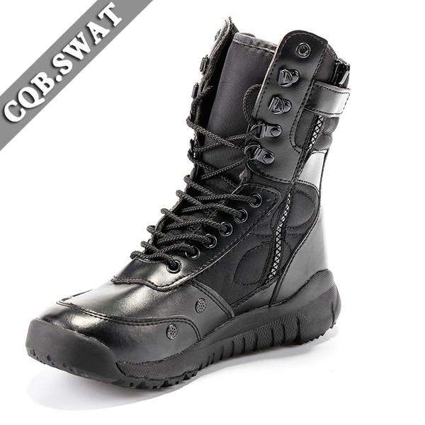 CQB.SWAT 2018 Army Boots Men Tactical Boot black spring Botas de combate y transpirables con cremallera ZD-022 East Wolf