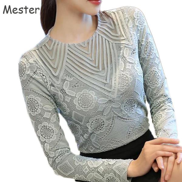 Women Elegant Long Sleeve Lace Blouse Crewneck Floral Lace Hollow Out Mesh Shirt Ladies Office Slim Patchwork Tops Grey/Black