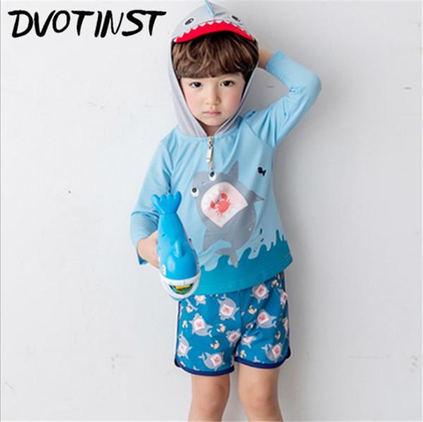Dvotinst Baby Boy Clothes Blue Shark Summer Swimwear Hooded Tops+Shorts 3pcs Set Swim Suit Spa Bathing Beach Clothing Costume