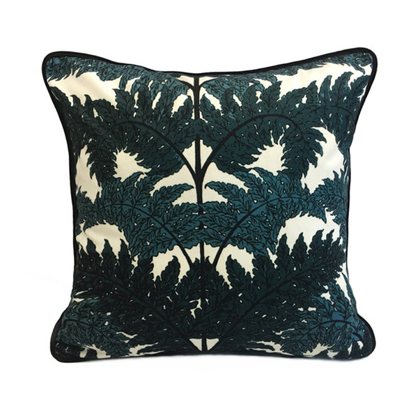 Luxurious Fashion Printed Dark Green Tree Decorative Throw Pillow Case Knitted Velvet Floor Sofa Chair Home Bedding Cushion Cover 45x45cm