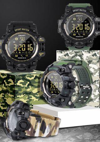 2018 EX16S smart watch camouflage watch Watch Bluetooth IP67 waterproof Remote Camera Fitness Tracker Wearable Running wristwatch 50pcs