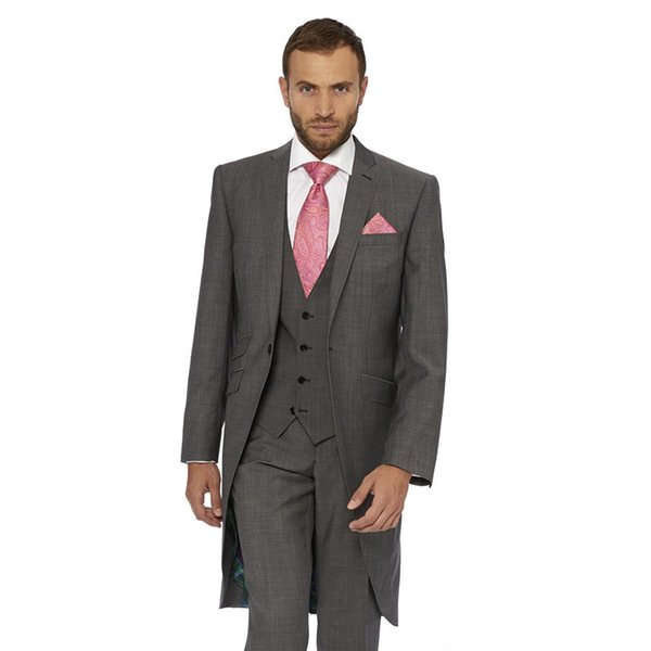 Custom-tailor dark gray Groom men suit Tuxedos Notch Lapel one button Groomsman mens Suits 2017 ( jacket+Pants+vest+tie)