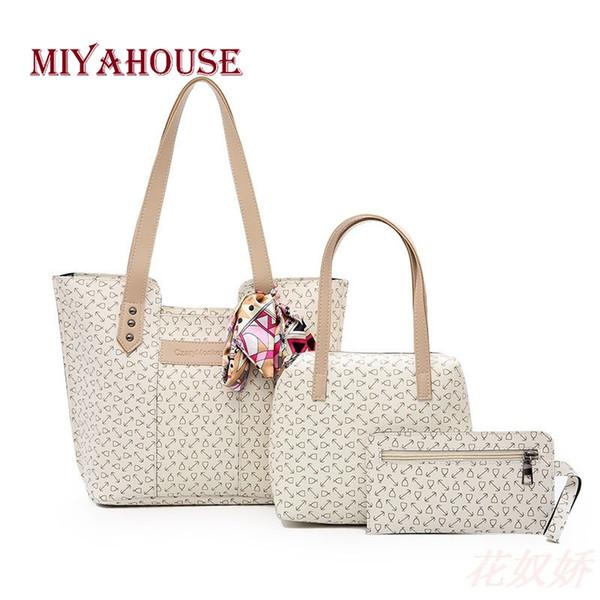 2019 Fashion Miyahouse 3PCS/SET Korean Style Shoulder Bag For Women Print Design PU Leather Handbag Ribbons Solid Color Shoulder Bag Lady