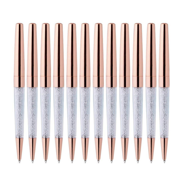 100Pcs/Lot Rose Gold Pen Bling Diamond Pens Fine Black Ink Crystal Ballpoint Pen Ring Wedding Office Metal Roller Ball Gift