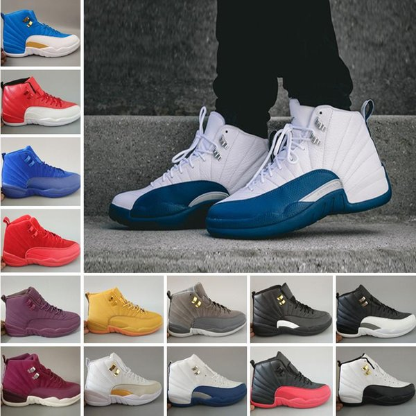 French Blue 12 Basketball Shoes mens womens Cherry White the master black gym red White TAXI Flu Game gamma blue Playoff Cool Grey
