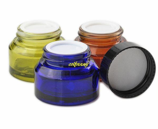 100pc / lot 15g 30g 50g Vetro Ambra Facciale Vaso Crema Vuoto Cosmetico Campione 30ml Trasparente Contenitore Emulsione Riutilizzabile Pot