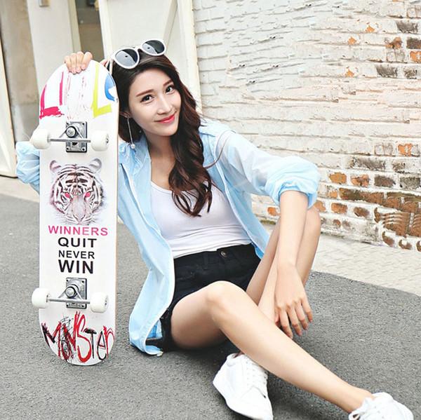 80cm Long Doble Rocker Skateboard 7 Capas Marple Wood Skateboard Para Niños Adultos Patins 4 Wheel Rollers Skates Longboard