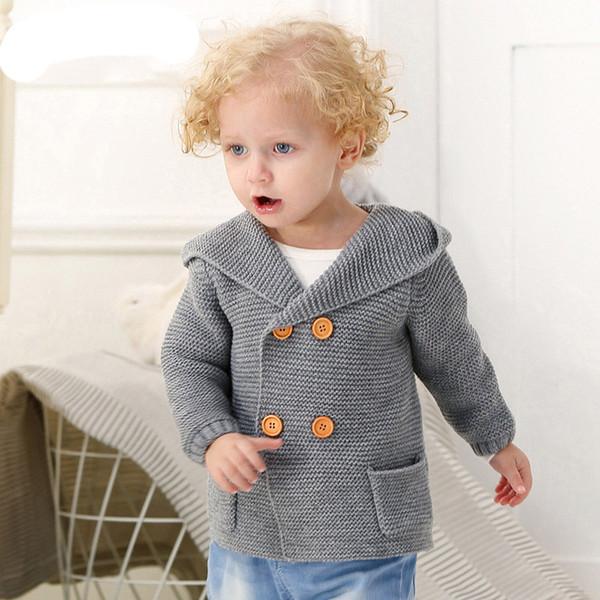 Compre Bebé Niño De Punto Suéter Con Capucha Otoño Invierno Niño ...