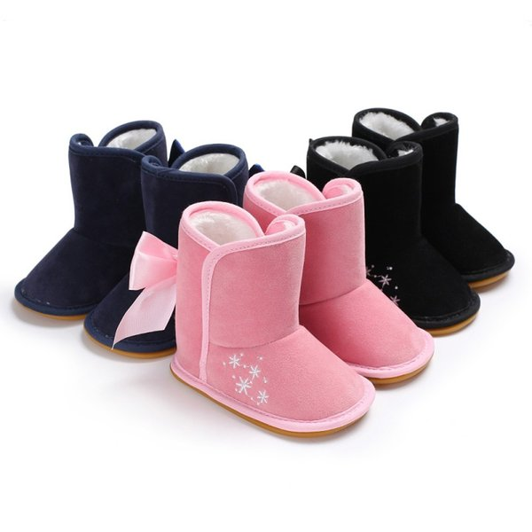 Baby Shoes New Arrival Baby Boots with Butterflies Knot in Winter Newborn Velvet Warm Shoes Snow Boots First Walker