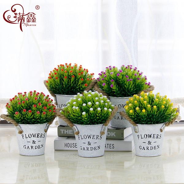 Home decoration iron bucket letter hemp rope simulation plant bonsai set artificial plastic starry fake flower pot plant