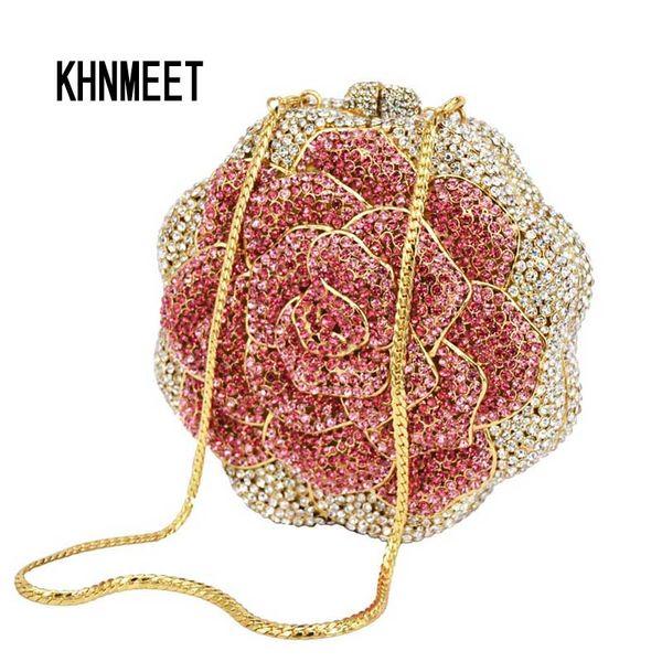 LaiSC 2016 Rose Flower Shaped Kristallhandtasche geben Verschiffendiamantgold / rosafarbenes buntes handgemachtes Abendbeutelgeldbeutel SC021 frei
