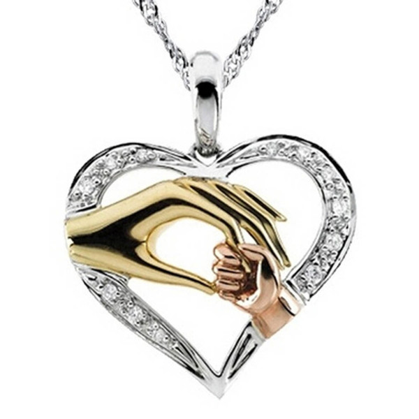Mother And Child Pendant Gift For Mom Golden Hand in hand Heart Love Pendant Necklace Mom Family Jewelry