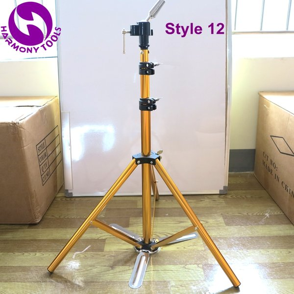 HARMONY 1 Piece LF-1072 Adjustable Gold Pedal Aluminum Alloy Hairdressing Training Mannequin Heads Tripod Clamp Floor Stand