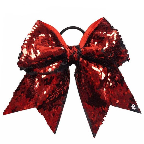 8pcs/7'' Large Fashion Sequins Cheer Bow With High Quality Elastic Band Hair Bow For Cheerleaders Hair Accessories
