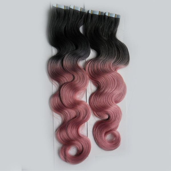 T1B/Pink Color Tape In Human Hair Extensions Machine Made Remy Brazilian Body Wave Hair 200G 80Piece Ombre Skin Weft Hair Extensions