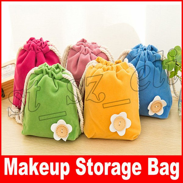 Flower Button Travel Cosmetic Bag Non-woven fabric Drawstring Elegant Drum Wash Bags Makeup Organizer Storage Bags 5 colors