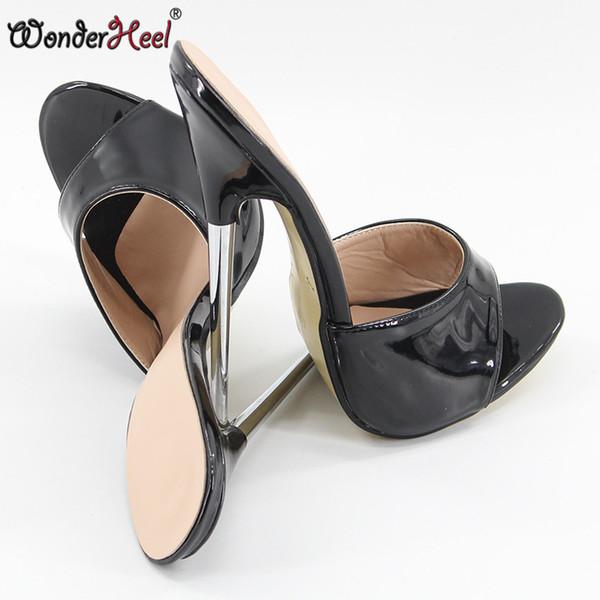 """Wonderheel summer Extreme high heel 18cm/7"""" heel BLACK Sexy fetish slip on stiletto metal heel fashion women sandals"""