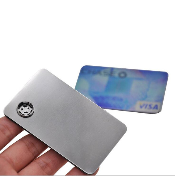 Fun metal Credit card smoking tobacco cigarette Hand pipe Accessories sneak a toke click n vape Bubblers Oil Rigs Filter