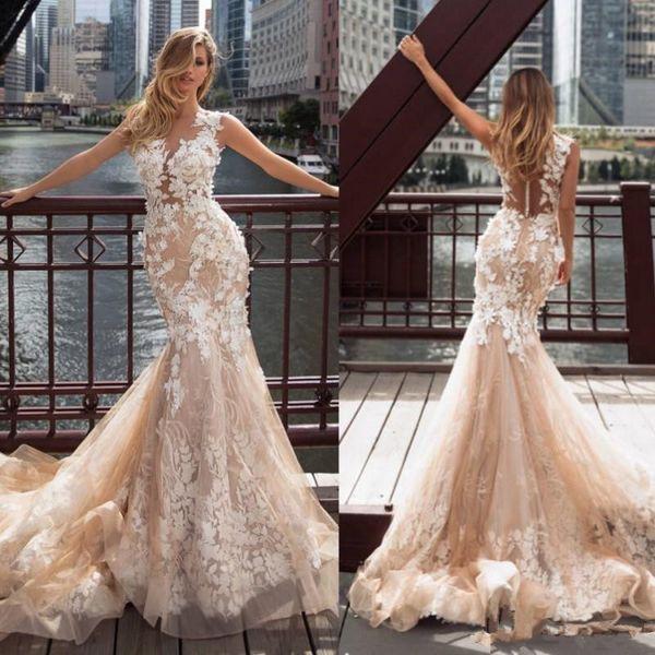 Milla Nova 2019 Champagne Mermaid Wedding Dresses Lace Applique Sheer Neck Bridal Gowns Beach Sweep Train Wedding Dress