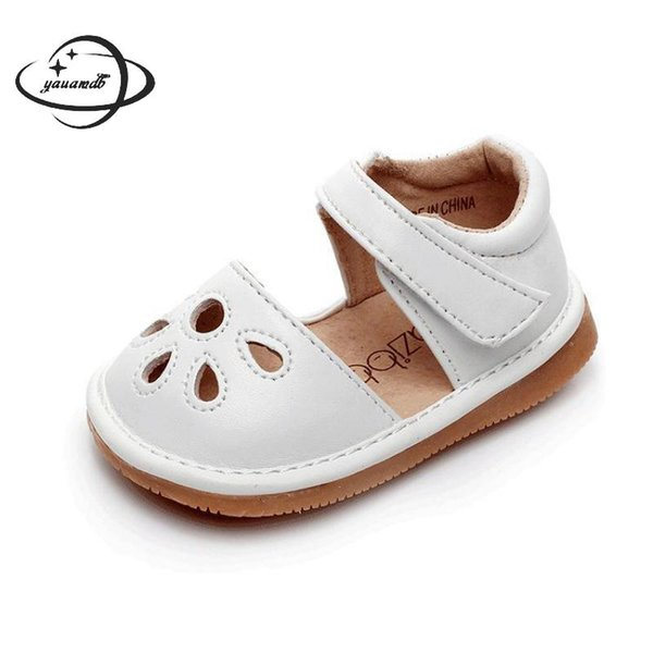YAUAMDB newborn baby first walkers 2018 summer leather girls sandals toddler shoes breathable solid princess infant shoes ly41