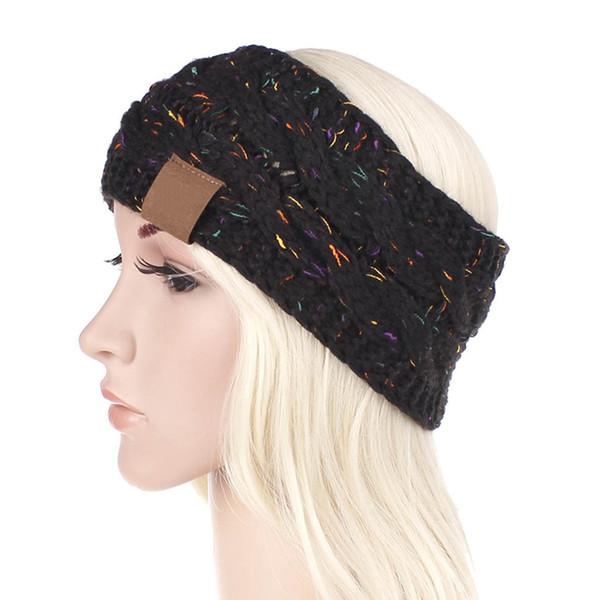 Mujeres de invierno de punto diadema multicolor color de punto de ganchillo turbante torcedura banda de pelo oreja más elástico señora amplia accesorios para el cabello