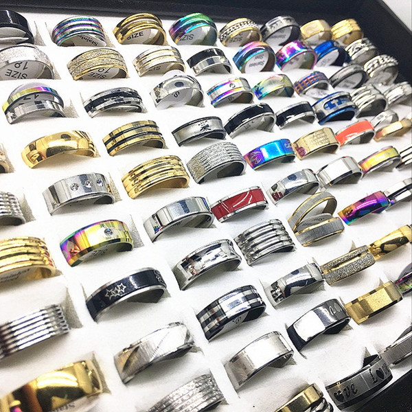Wholesale Bulk Lots 100pcs assorted top stainless steel rings for men women fashion Jewelry wedding band brand new