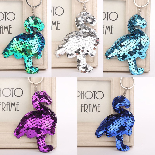 Colorful Sequins Flamingo Keychain Charms Bird Keyrings Bag Car Accessorices Animal Sequin Pendant Key Holder 6 Styles H863Q