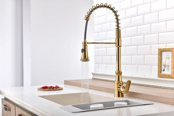 2018 free ship gold pvd color pull out kitchen faucet mixer tap rh m dhgate com