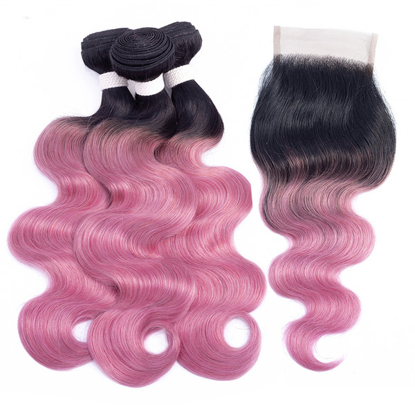 T 1B Pink Red Bundles with Closure Ombre Human Hair Colored Brazilian Body Wave Hair Extension 2/3 Bundles with Lace Closure
