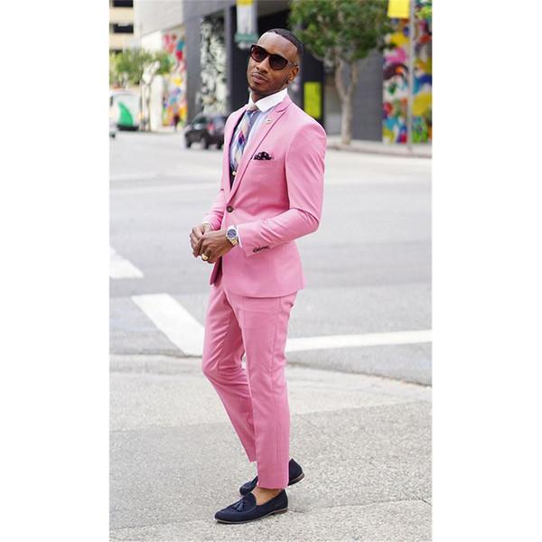 Men's fashion new suit two-piece suit (coat + pants +) men's pink single buckle gun collar collar suit wedding groom groomsmen dress