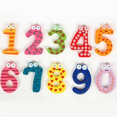 Set of 10 Number Large Cartoon Educational Toy Wooden Fridge Magnet for Baby New