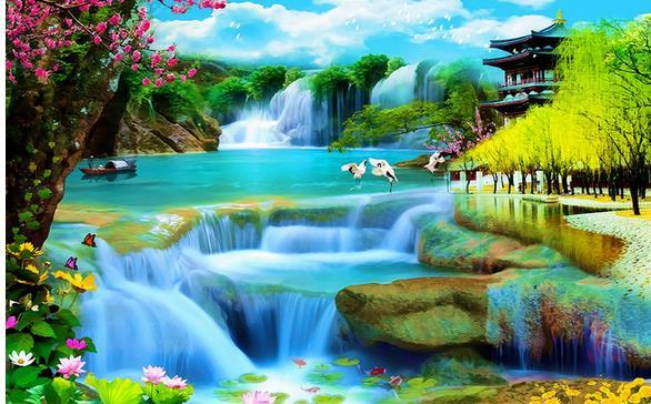 Водопад поток fairyland ТВ фон настенные рамы картина декоративная живопись