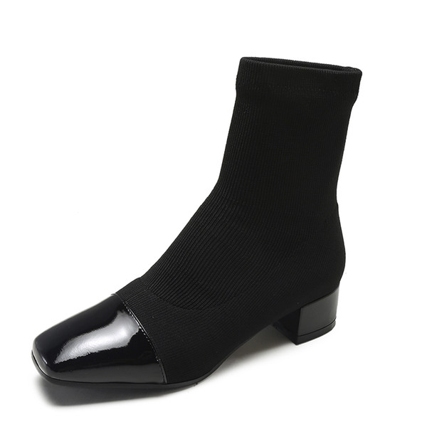 Sexy Women Ankle Sock Boots 2018 New Short knitting Boot Party High Heels Casual Platform Shoes Woman Size 35-39