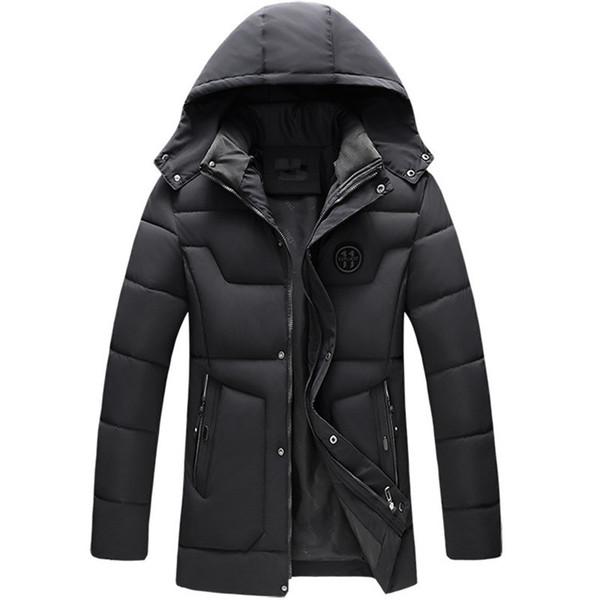 Automne et hiver nouveaux hommes veste en coton casual veste chaude couleur unie manteau épais à capuche long manteau