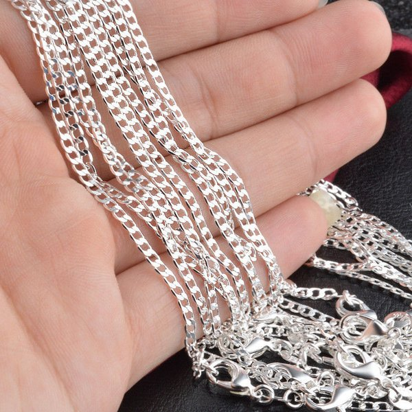 """Fine 925 Sterling Silver Necklace,XMAS 925 Silver Curb Chain 2MM 2Pcs 16""""-30Inch Necklace For Women Men Fashion Jewelry Link Italy Xc012"""